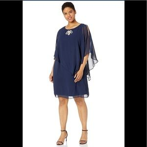 S.L.Fashions cape dress Multi Tiered Navy,NWT